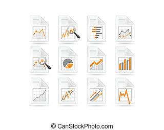 analytics, statistiques, fichier, icônes