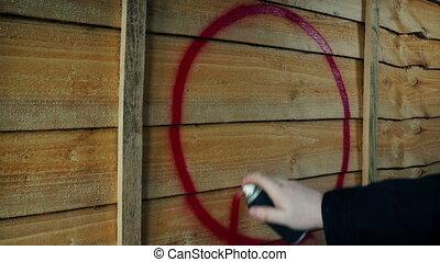 anarchie, pulvérisation, symbole, peint, barrière, bois