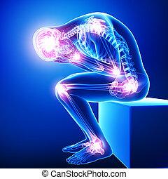 anatomie, mâle, jointure, douleur