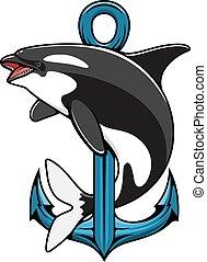 anchor., héraldique, orque, icône