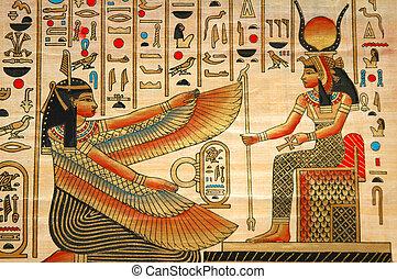 ancien, éléments, histoire, papyrus, égyptien