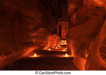 ancien, (al, éclairé, ville, khazneh), jordanie, trésorerie, sentier, petra