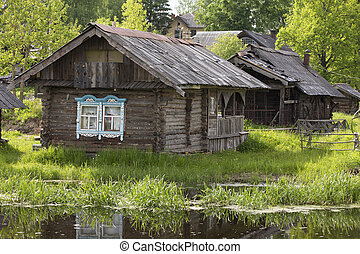 ancien, bois, maisons, village, rive