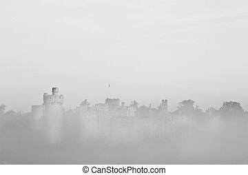 ancien, champ, scène, visible, brouillard, forêt, fond, château, brume