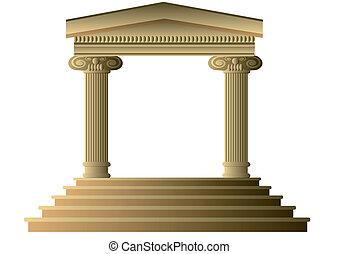 ancien, colonnes