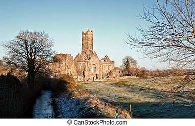 ancien, touriste, ouest, abbaye, attraction, rural, irlande