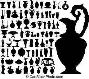 ancien, (vector), vases