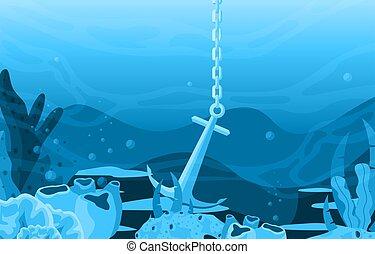 ancre, corail, sous-marin, océan, nature, bateau, marin, illustration, récif