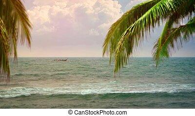 ancre, plage tropicale, fermé, bateau, longtail, local