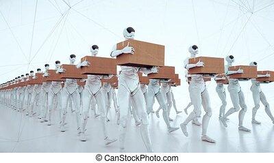 androïde, robot, ouvriers, humanoïde, 4k, marche, boîte, mains