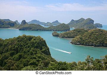ang, lanière, national, exotique, parc, thaïlande, plage