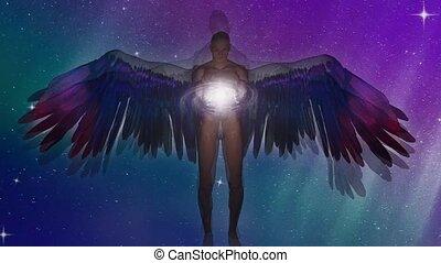 ange, être, ailé