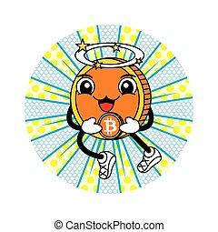 ange, bitcoin, dessin animé