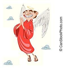 ange, caractère, cupidon, vector., sourire, dessin animé, heureux
