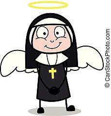 ange, -, illustration, figure, religieuse, vecteur, déguisement, sourire, dame, dessin animé