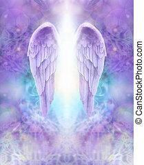 ange, lilas, ailes, divin, lumière