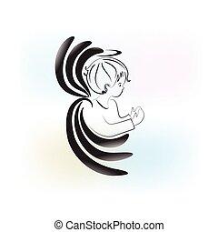 ange prier, enfant, logo