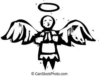 ange, woodcut