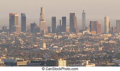 angeles, bas, gratte-ciel, problèmes, los, urbain, toxique, usa., californie, métropole, pollution, fog., cityscape, highrise, air, en ville, visibilité, skyline., sale, ville, brumeux, smog, écologie