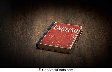 anglaise, bois, manuel, table, rouges