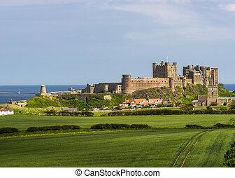 anglaise, château, vieux, bamburgh