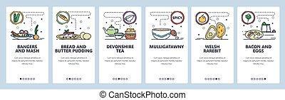 anglaise, development., site web, site, nourriture, gabarit, toile, repas., gallois, vecteur, plat, app, indien, screens., bannière, onboarding, illustration, international, menu, cuisine, mobile, conception