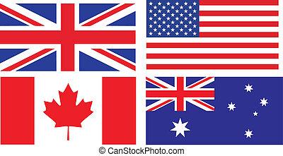 anglaise, drapeaux, parler, pays