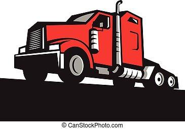 angle, demi-camion, retro, tracteur, bas