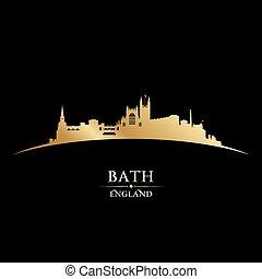 angleterre, arrière-plan noir, horizon, ville, bain, silhouette