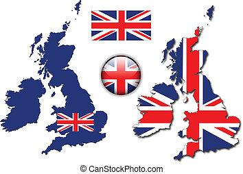 angleterre, bouton, drapeau, carte, vecteur, royaume-uni