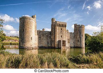 angleterre, sussex, historique, château, est, bodiam