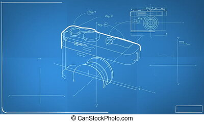 animé, générique, appareil photo, plan, photographique