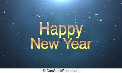 animé, heureux, closeup, nouveau, bleu, année, fond, texte