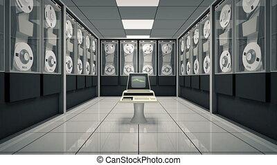 animé, informatique, vieux, salle