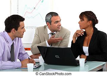 animé, réunion, trois, professionnels