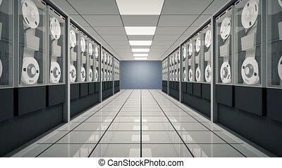 animé, vieux, salle, informatique