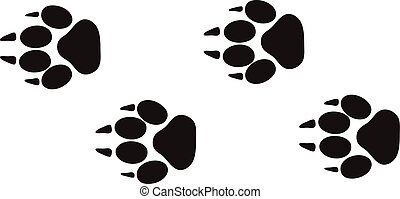 animal, étapes, vector., pistes, pied, conception, isolé, vie sauvage, blanc, traces, caractères, concept
