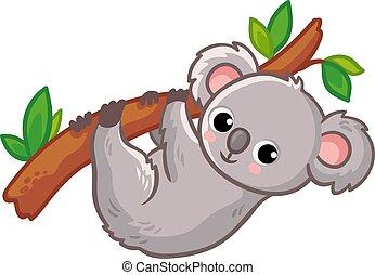 animal, australien, arrière-plan., arbre, mignon, blanc, dessin animé, style., pend, koala