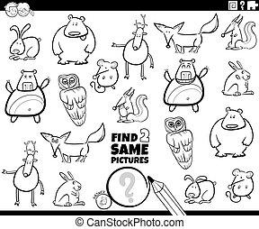 animal, deux, trouver, jeu, couleur, même, caractères, livre