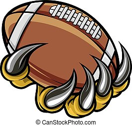animal, griffe, monstre, tenue, boule football américain