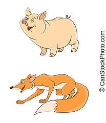 animals:, renard, deux, cochon