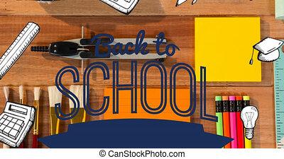 animation, école, papeterie, dos, sur, texte, équipement, bureau, défilement