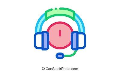animation, écouteurs, distrait, icône, musique