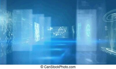 animation, écrans, fond, brin, bleu, adn, sur, rotation