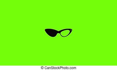 animation, élégance, icône, lunettes
