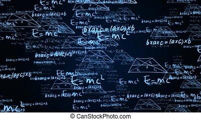 animation., 3d, solutions, scientifique, fond, tâche, boucle, mathématique, physique, formules