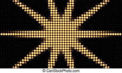 animation., 4k, brillant, néon, arrière-plan doré, lumières, disco, modèle, light., club, boucle, nuit, étoiles, récompense