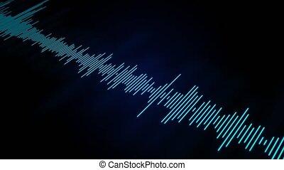 animation., 4k, wavefrom, musique, résumé, vagues, audio, boucle, oscillation
