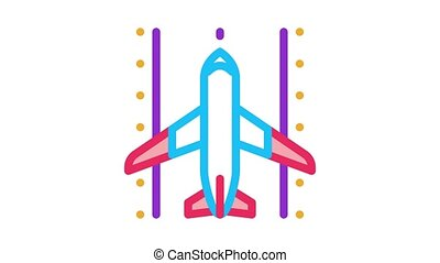 animation, aéroport, piste, icône, avion