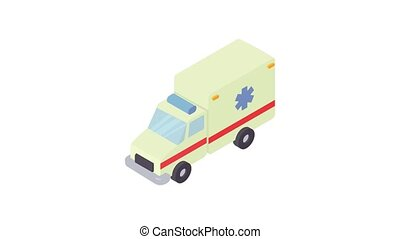 animation, ambulance, icône
